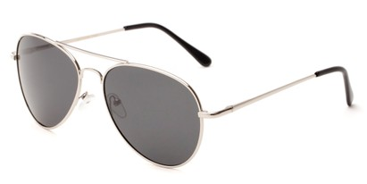 Angle of Rift #2000 in Matte Silver Frame with Grey Lenses, Women's and Men's Aviator Sunglasses