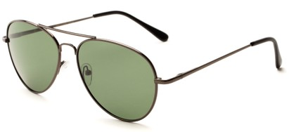 Angle of Rift #2000 in Glossy Grey Frame with Green Lenses, Women's and Men's Aviator Sunglasses