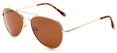 Angle of Rift #2000 in Glossy Gold Frame with Amber Lenses, Women's and Men's Aviator Sunglasses