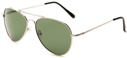 Angle of Rift #2000 in Glossy Silver Frame with Green Lenses, Women's and Men's Aviator Sunglasses