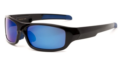 Angle of Ripcord #2194 in Black Frame with Blue Mirrored Lenses, Men's Sport & Wrap-Around Sunglasses