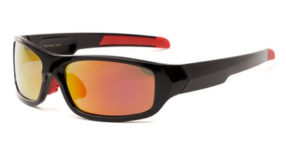 Angle of Ripcord #2194 in Black Frame with Orange Mirrored Lenses, Men's Sport & Wrap-Around Sunglasses