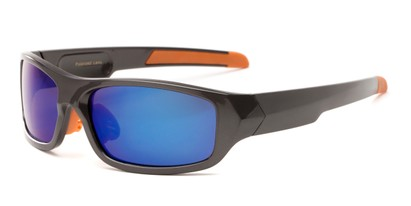 Angle of Ripcord #2194 in Grey/Orange Frame with Blue Lenses, Men's Sport & Wrap-Around Sunglasses