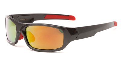 Angle of Ripcord #2194 in Grey Frame with Orange Mirrored Lenses, Men's Sport & Wrap-Around Sunglasses