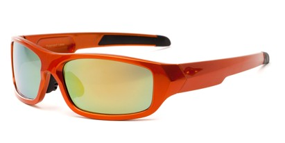 Angle of Ripcord #2194 in Orange Frame with Yellow Mirrored Lenses, Men's Sport & Wrap-Around Sunglasses