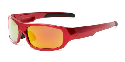 Angle of Ripcord #2194 in Red Frame with Orange Mirrored Lenses, Men's Sport & Wrap-Around Sunglasses