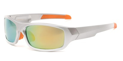 Angle of Ripcord #2194 in Silver Frame with Yellow Mirrored Lenses, Men's Sport & Wrap-Around Sunglasses