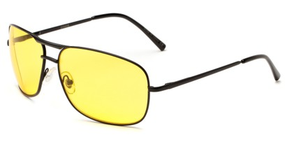Angle of Roadie #20540 in Black Frame with Yellow Lenses, Men's Aviator Sunglasses