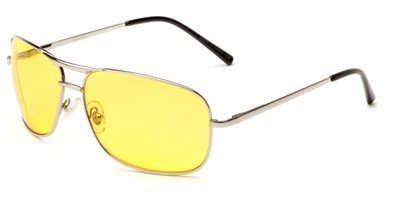 Angle of Roadie #20540 in Silver Frame with Yellow Lenses, Men's Aviator Sunglasses