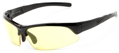 Angle of Conger #1036 in Glossy Black/Black Frame with Yellow Lenses, Women's and Men's Sport & Wrap-Around Sunglasses