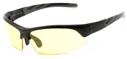 Angle of Conger #1036 in Matte Black/Grey Frame with Yellow Lenses, Women's and Men's Sport & Wrap-Around Sunglasses