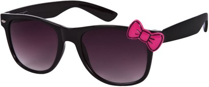 Angle of SW Retro Bow Style #283 in Black with Pink Frame, Women's and Men's