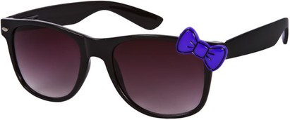 Angle of SW Retro Bow Style #283 in Black with Purple Frame, Women's and Men's