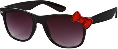 Angle of SW Retro Bow Style #283 in Black with Red Frame, Women's and Men's
