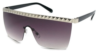 Angle of SW Studded Shield Style #3180 in Black and Silver, Women's and Men's
