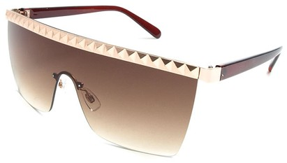 Angle of SW Studded Shield Style #3180 in Brown and Gold, Women's and Men's