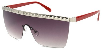 Angle of SW Studded Shield Style #3180 in Red and Silver, Women's and Men's