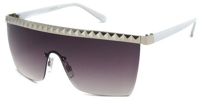 Angle of SW Studded Shield Style #3180 in White and Silver, Women's and Men's