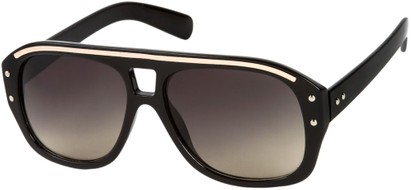 Angle of SW Retro Aviator Style #1934 in Black/Gold Frame with Grey Lenses, Women's and Men's