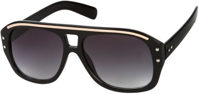 Angle of SW Retro Aviator Style #1934 in Black/Gold Frame with Smoke Lenses, Women's and Men's