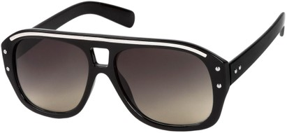 Angle of SW Retro Aviator Style #1934 in Black/Silver Frame with Grey Lenses, Women's and Men's
