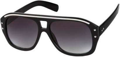 Angle of SW Retro Aviator Style #1934 in Black/Silver Frame with Smoke Lenses, Women's and Men's