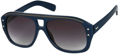Angle of SW Retro Aviator Style #1934 in Blue/Grey Frame with Smoke Lenses, Women's and Men's