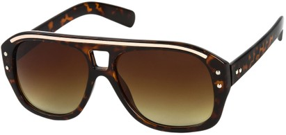Angle of SW Retro Aviator Style #1934 in Brown Tortoise/Gold Frame with Amber Lenses, Women's and Men's