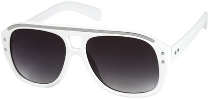 Angle of SW Retro Aviator Style #1934 in White/Silver  Frame with Smoke Lenses, Women's and Men's