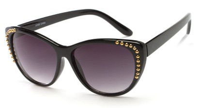 Angle of SW Cat Eye Style #3806 in Black/Gold Frame with Smoke Lenses, Women's and Men's