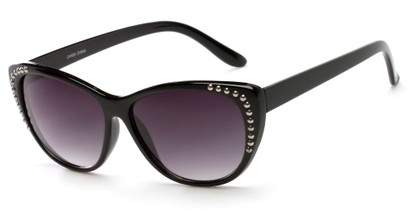 Angle of SW Cat Eye Style #3806 in Black/Silver Frame with Smoke Lenses, Women's and Men's
