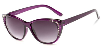 Angle of SW Cat Eye Style #3806 in Purple Frame with Smoke Lenses, Women's and Men's