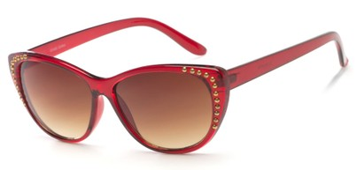 Angle of SW Cat Eye Style #3806 in Red Frame with Amber Lenses, Women's and Men's