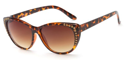 Angle of SW Cat Eye Style #3806 in Tortoise Frame with Amber Lenses, Women's and Men's