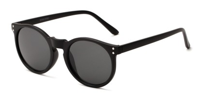 Angle of Steve #3812 in Matte Black Frame with Grey Lenses, Women's and Men's Round Sunglasses