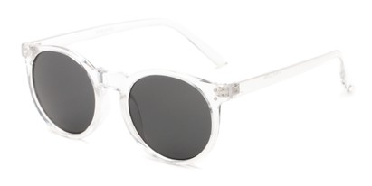 Angle of Steve #3812 in Clear Frame with Grey Lenses, Women's and Men's Round Sunglasses
