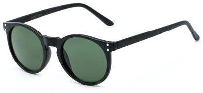 Angle of Steve #3812 in Matte Black Frame with Green Lenses, Women's and Men's Round Sunglasses