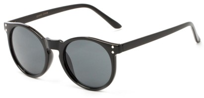 Angle of Steve #3812 in Glossy Black Frame with Grey Lenses, Women's and Men's Round Sunglasses
