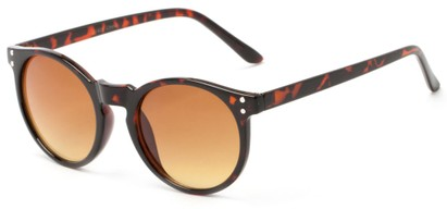 Angle of Steve #3812 in Glossy Tortoise Frame with Amber Gradient Lenses, Women's and Men's Round Sunglasses