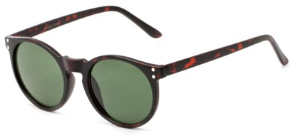 Angle of Steve #3812 in Matte Tortoise Frame with Green Lenses, Women's and Men's Round Sunglasses