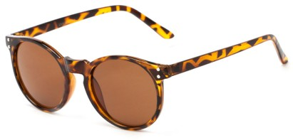 Angle of Steve #3812 in Glossy Light Tortoise Frame with Amber Lenses, Women's and Men's Round Sunglasses