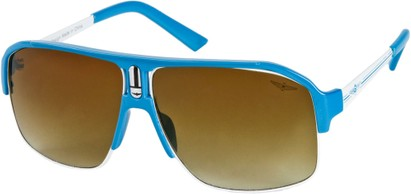 Angle of SW Neon Aviator #8909 in Blue Frame with Amber Lenses, Women's and Men's