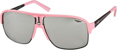 Angle of SW Neon Aviator #8909 in Light Pink Frame with Mirrored Lenses, Women's and Men's