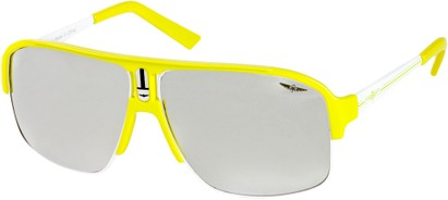 Angle of SW Neon Aviator #8909 in Neon Yellow Frame with Mirrored Lenses, Women's and Men's