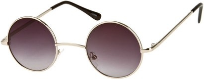 Angle of London #1707 in Silver with Smoke Rose Lens, Women's and Men's Round Sunglasses