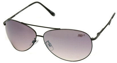 Angle of SW Aviator Style #8018 in Black Frame with Smoke Lenses, Women's and Men's