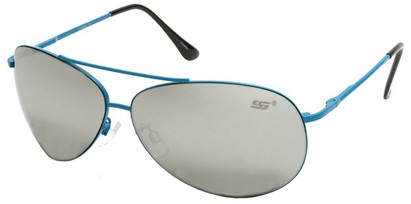 Angle of SW Aviator Style #8018 in Blue Frame with Mirrored Lenses, Women's and Men's