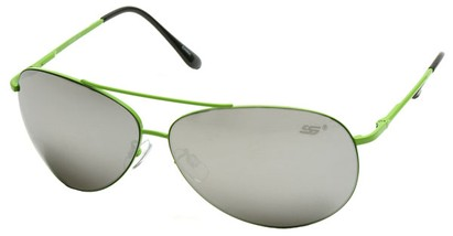 Angle of SW Aviator Style #8018 in Lime Green Frame with Mirrored Lenses, Women's and Men's