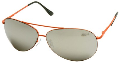 Angle of SW Aviator Style #8018 in Orange Frame with Mirrored Lenses, Women's and Men's