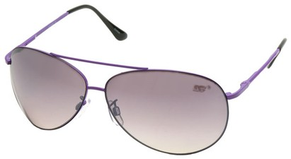 Angle of SW Aviator Style #8018 in Purple Frame with Smoke Lenses, Women's and Men's